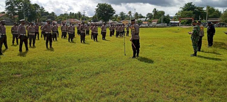 Gabungan  Personel TNI-Polri Laksanakan Apel Gelar Pasukan Dalam Rangka Pengamanan VVIP Kunjungan Kerja Presiden RI ke Kab. Sumba Tengah